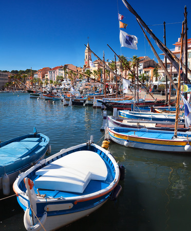 Fishing boats in Sanary harbour on the Cote d\ Stock Photo
