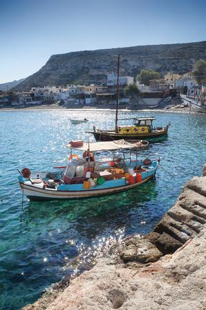 Matala Spiaggia al sorgere del sole a Creta, Grecia Archivio Fotografico