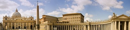 obelisk stone: Panoramic view of St. Peters Square in Vatican, Rome