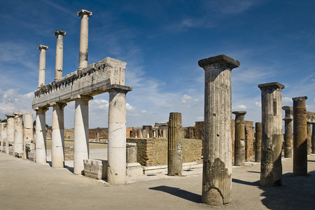 blue sky: Remains of a temple in Pompeii, Italy