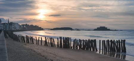 Saint Malo beach in Brittany, France Фото со стока