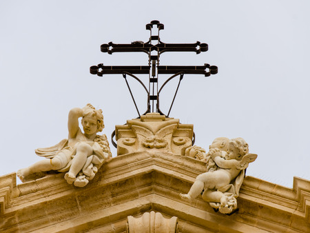 pediment: The Cathedral of Syracuse, detail of the pediment with angels, Sicily, Stock Photo