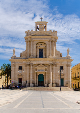 st  joseph: The mother church of St. Joseph located in Rosolini, Sicily, Italy (cloudy day)