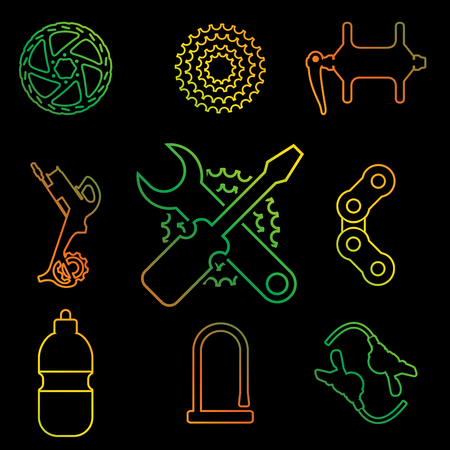 Bike Parts, Accessories, Repair and Maintenance Vector Line Icon Set