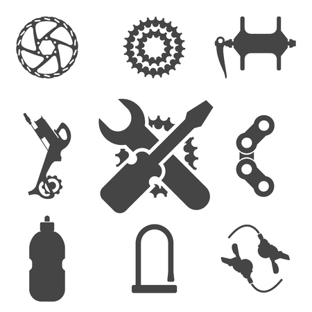 Bike Parts, Accessories, Repair and Maintenance Vector Silhouette Icon Set