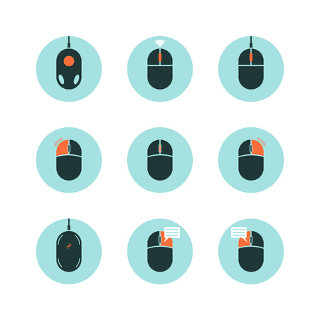 Computer Mouse with Highlighted Functions. Flat Style Vector Icon Set. Ilustração