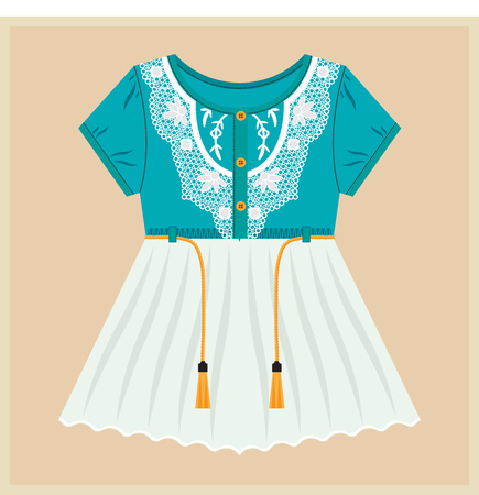 Little Girl Dress. Vintage Vector Clothes for Kids. Blue Top - White Bottom. Laces - Strings.
