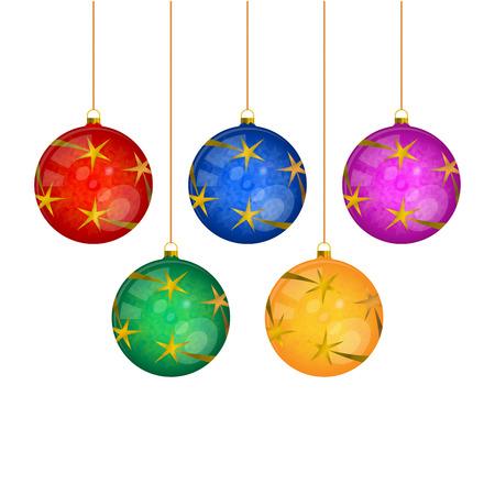 白に隔離された5つの吊り多色のクリスマスツリーボール。リアルなベクトルイラスト。