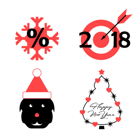 Vector Symbols of the Upcoming 2018 Year of the Dog: Snowflake, Target, Dog, Decorated Christmas Tree. Vector Christmas Icon Set.