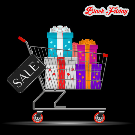 Black Friday Great Discount for Gifts Concept. A Supermarket Trolley with a Big Pile of Colorful Wrapped Gift Boxes in it. Black Discount Tag on the Side of the Cart. Vector Illustration.