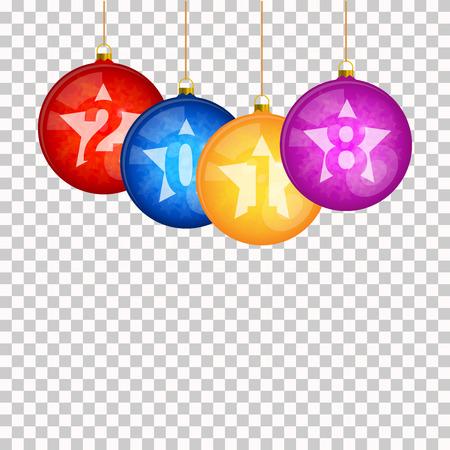 透明な背景にぶら下がっている多色のクリスマスツリーボール。新年2018テキストデザイン。ベクトルイラストレーション。