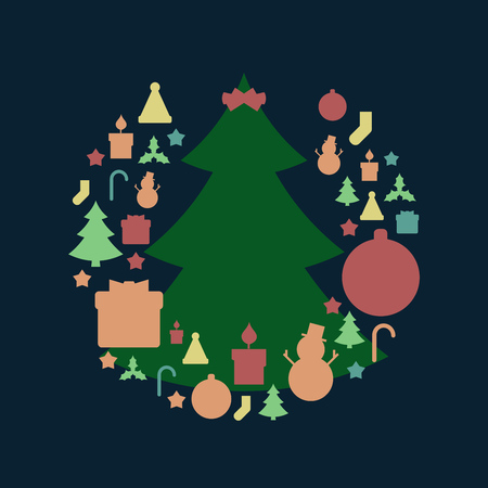 Green Christmas Tree and Christmas Holiday Related Round Icon Pattern in Vintage Style and Retro Faded Colors. Vector Illustration. Illustration