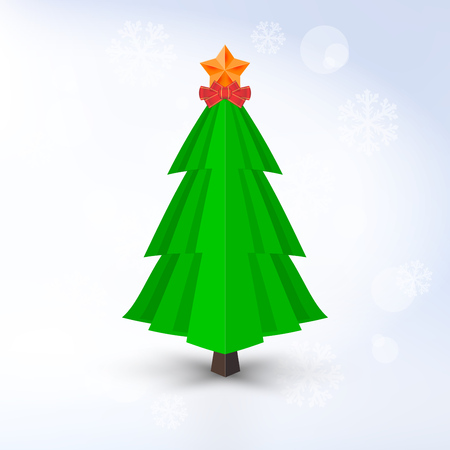 Decorative Vector Christmas Tree with Golden Star and Red Bow on Light Background. Barely Distinguishable Vector Snowflakes.