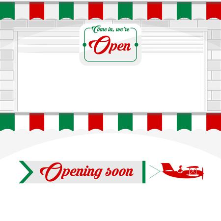 Café italien, Pizzeria, éléments de conception de magasin de marché. Porte à volet blanc ou porte à enroulement avec panneau ouvert. Ouverture prochaine - Bannière d'avion. Illustration vectorielle Vecteurs
