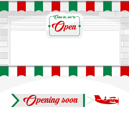 Italian Cafe, Pizzeria, Market Store Design Elements. White Shutter Door or Roller Door with Open Sign. Opening Soon - Airplane Banner. Vector Illustration. Vector Illustration