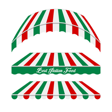 Awnings Vector Set. Different Forms. Colors of the Italian Flag. Italian Cafe, Pizzeria, Market Store Design Elements. Illustration