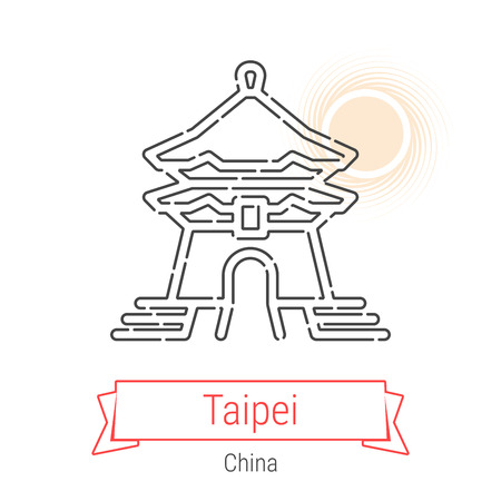 Taipei, Taiwan, China Vector Line Icon with Red Ribbon Isolated on White. Taipei Landmark - Emblem - Print - Label - Symbol. Chiang Kai-shek Memorial Hall Pictogram. World Cities Collection.