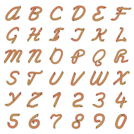 Colorful Vector Rope Alphabet. Letters from the Ropes. Capital Letters and Numbers. Illustration