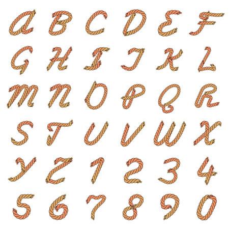 Kleurrijk Vectorkabelalfabet. Brieven van de touwen. Hoofdletters en cijfers.