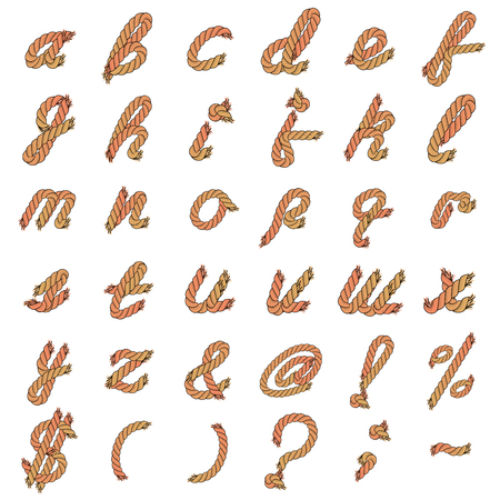 Colorful Vector Rope Alphabet. Letters from the Ropes. Lowercase Letters and Special Characters.