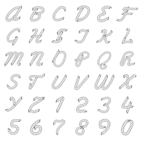 Black and White Vector Rope Alphabet. Letters from the Ropes. Capital Letters and Numbers.