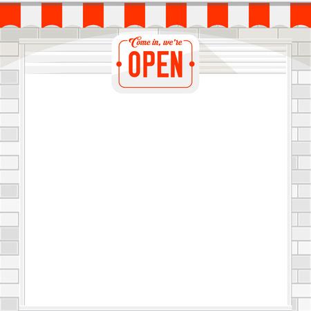 Porte à obturateur blanche ou porte à enrouleur avec enseigne ouverte. Mur de briques blanches et auvent de magasin rouge et blanc. Ouvrir le modèle vectoriel de boutique. Banque d'images - 92174090