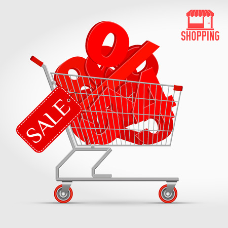 Realistic Vector Supermarket Cart Full of 3D Sale Percentage Numbers. Shopping, Discount Concept. Big Red 3D Numbers from 0 to 9 with a Large Percent Sign. And a Shopping Icon as a Bonus.