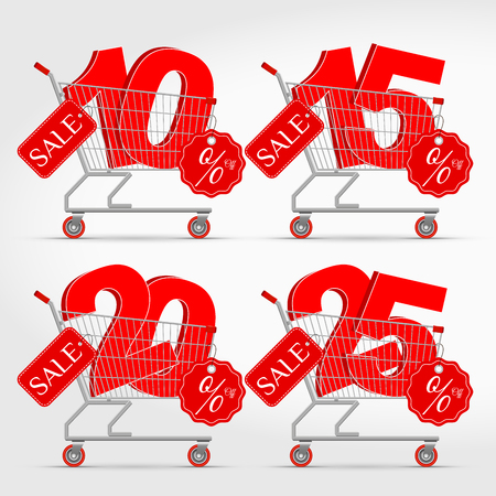 Realistic Vector Supermarket Cart with 3D Sale Percentage Numbers. Shopping, Discount Concept. 10 - 15 - 20 - 25 Percent Discount. Illustration