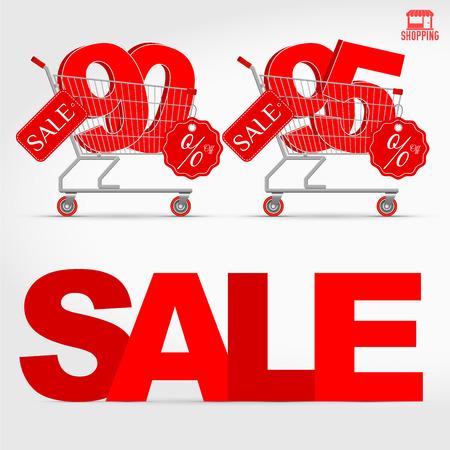 Realistic Vector of Supermarket Cart with 3D Sale Percentage Number Ilustração