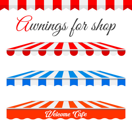 Striped awnings for shop in different forms.