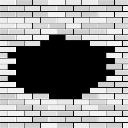 A Vector Brick Wall with Hole and Sample Text - White. Ilustração