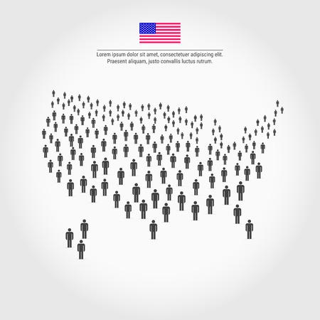 Kaart van de Verenigde Staten, bestaande uit een menigte mensenpictogrammen. Achtergrond voor presentatie, reclame, marketing, poster, grafische informatie.