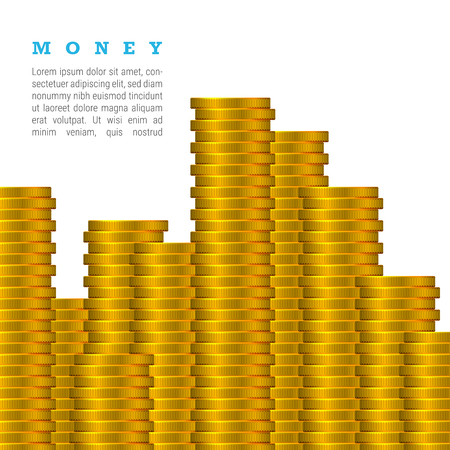 Vector Gold Coins Stack Isolated on a White Background with Text. Much Money Concept.