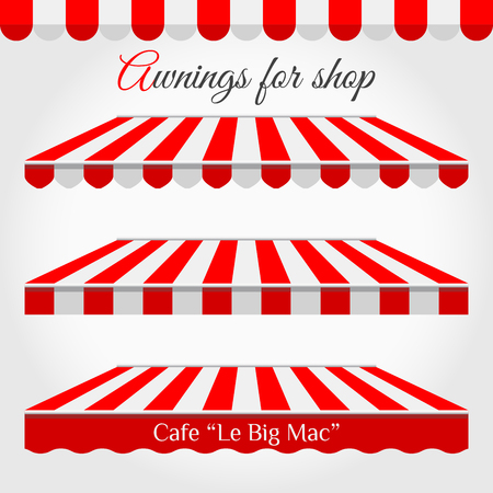 Striped Awnings for Shop in Different Forms. Red and White Awning with Sample Text.