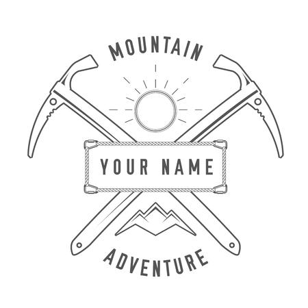 Mountain Adventure - Alpine Club Vector Emblem - Icon - Print - Insignia en estilo vintage blanco y negro. Concepto de camisa o etiqueta, estampilla o camiseta.