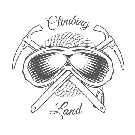 Escalada Land Trip - Mountain Adventure - Alpine Club Vector Emblem - Icono - Imprimir - Insignia en estilo vintage blanco y negro. Concepto de camisa o etiqueta, estampilla o camiseta.