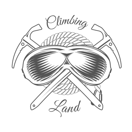 Climbing Land Trip - Mountain Adventure - Alpine Club Vector Emblem - Icon - Print - Badge in Vintage Black and White Style. Concept for Shirt or Label, Stamp or Tee.