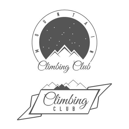 Climbing Club - Mountain Adventure - Alpine Trip Vector Emblem - Icon - Print - Badge in Vintage Black and White Style. Concept for Shirt or Label, Stamp or Tee. Vectores