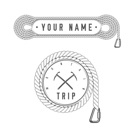 Viaje de escalada - Aventura de montaña - Emblema de Club Alpino - Icono - Imprimir - Plantilla de insignia en estilo blanco y negro vintage. Concepto de camisa o etiqueta, estampilla o camiseta. Ilustración de vector