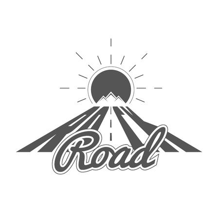 Rock Road - Emblema del club de aventura alpino - Icono - Imprimir - Plantilla de insignia en estilo blanco y negro vintage. Concepto de camisa o etiqueta, estampilla o camiseta.