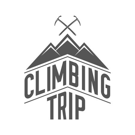 Viaje de escalada - Alpine Club Black and White Emblem. Concepto de camisa o etiqueta, estampilla o camiseta.