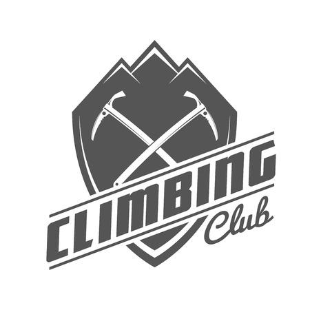 Climbing Club Black and White Emblem. Concepto de camisa o etiqueta, estampilla o camiseta.
