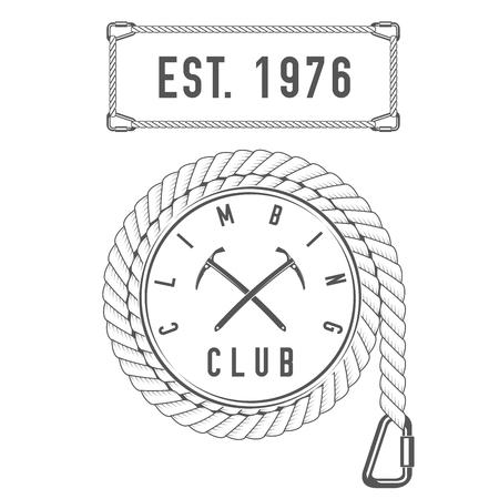 Climbing Club - Mountain Adventure - Emblema de viaje alpino - Icono - Imprimir - Plantilla de insignia en estilo vintage blanco y negro. Concepto de camisa o etiqueta, estampilla o camiseta.