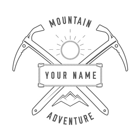 Mountain Adventure - Alpine Club  Emblem - Icon - Print - Badge in Vintage Black and White Style. Concept for Shirt or Label, Stamp or Tee.