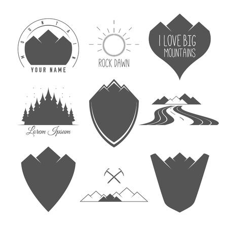 Rock Road - Shield - Forest and Sun - Conjunto de silueta Vector Emblemas y Badges Alpine Adventure relacionados con el estilo vintage en blanco y negro.