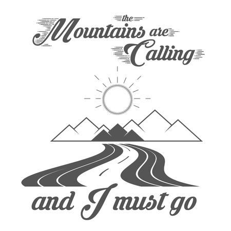 Las montañas están llamando - Alpine Adventure Club Vector Emblem - Icon - Print - Plantilla de insignia en estilo Vintage blanco y negro. Concepto de camisa o etiqueta, estampilla o camiseta.