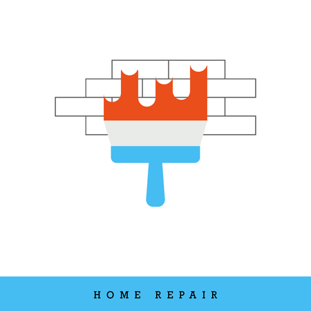 Home Repair Vector Icon. Putty Knife - Spatula - Plastering on the Brick Wall. Иллюстрация