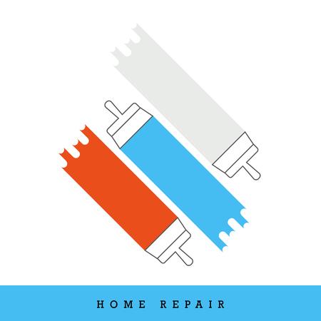Home Repair Vector Icon Set. Putty Knife - Spatula - Plastering Multicolored Icon Set.