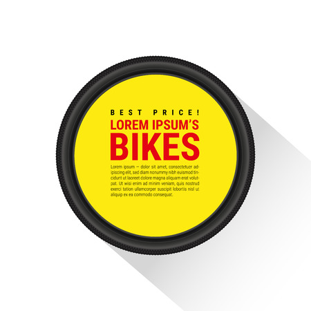 Bicycle tire, template for advertising with an example of text layout. Realistic vector illustration Vettoriali