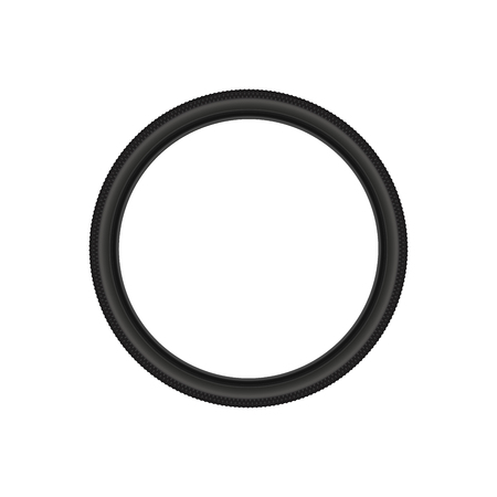 Bicycle Tire, Realistic Vector Illustration. 3D Bike Tyre, Blank Spare Part Isolated on White.